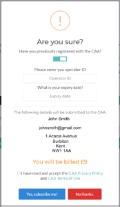 FPV UK Existing CAA Registration
