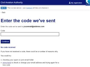 CAA My Registration Drone Login Code Screen